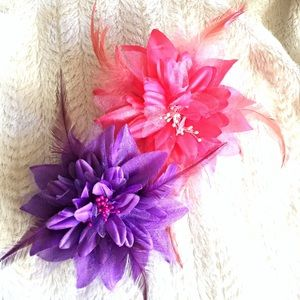 Big Feathered Flower Hair Clip Bundle of 2